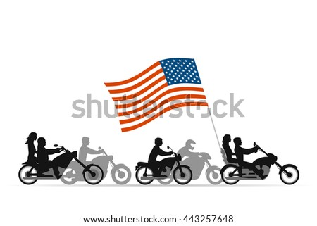 Bikers on motorcycles with usa flag - stock vector