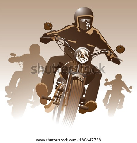 Bikers on the road. Vector illustration - stock vector