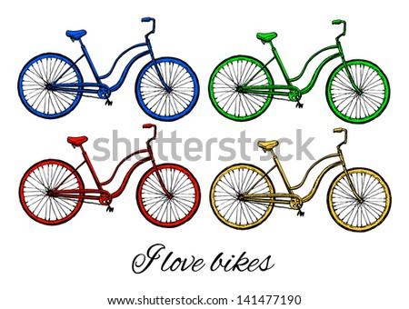 bikes - stock vector