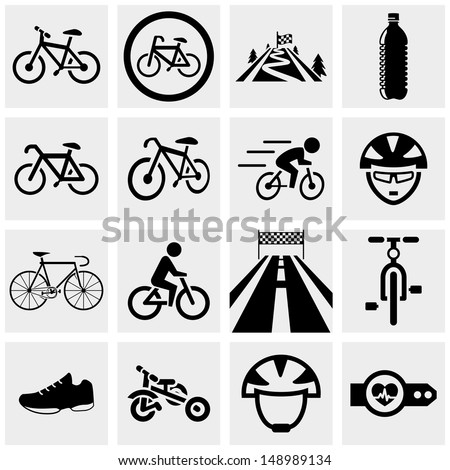 Biking vector icons set on gray.  - stock vector