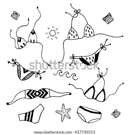Bikini design elements. Set of hand drawn vector black and white isolated illustrations. Cartoon doodle - bra, panties, sea star, shell, sun, wave.