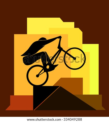 Bikycle rider jumps on obstacle, extreme sport, vector illustration - stock vector