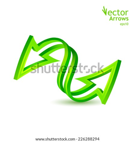 Bilateral 3D arrow. Vector illustration - stock vector