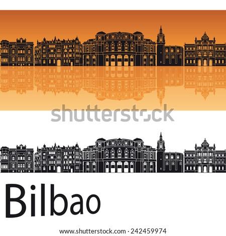 Bilbao skyline in orange background in editable vector file - stock vector