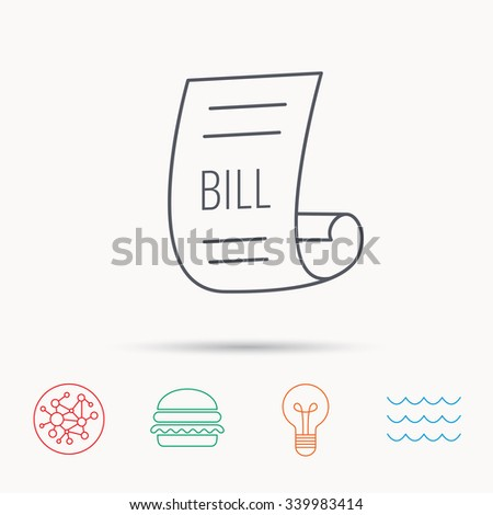 Bill icon. Pay document sign. Business invoice or receipt symbol. Global connect network, ocean wave and burger icons. Lightbulb lamp symbol. - stock vector