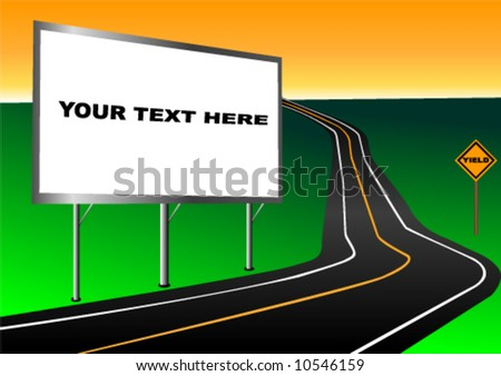 Billboard advertisement vector with roadside and yield sign