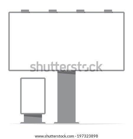 billboard board and citylight, screen, contour; vector illustration - stock vector