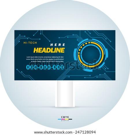 billboard design template futuristic hi-tech - stock vector