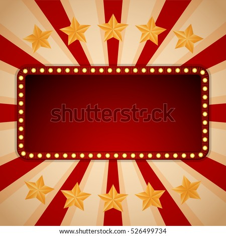 Billboard. Electric bulbs. Retro light frames. Vector illustration eps10