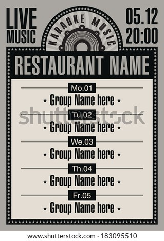 billboard for the restaurant with karaoke music - stock vector