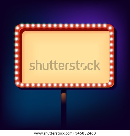 billboard in retro style with lights. Blank sign with lights in the night city, Clear place for your text vintage style, Vector illustration.