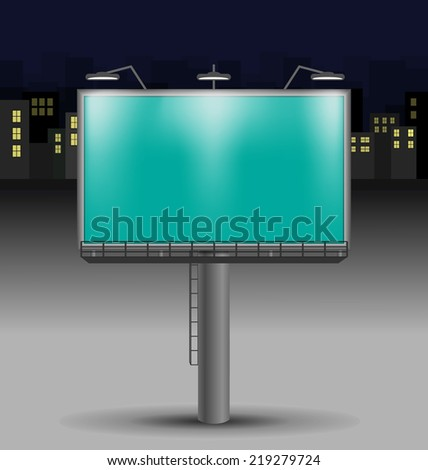 Billboard in the night city on background - stock vector