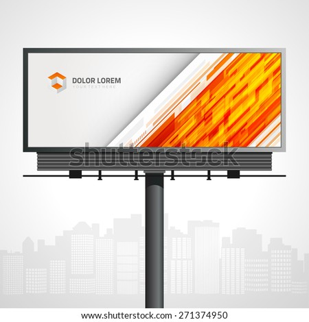 Billboard mock up for logo presentation and abstract logotype identity with urban horizon vector background - stock vector