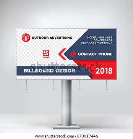 billboard modern graphic design red template stock vector 670019446