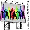 billboard - poster of dancing people - stock vector