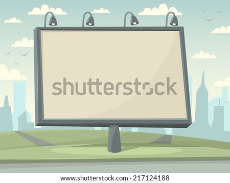 Billboard with city background. Vector illustration. - stock vector