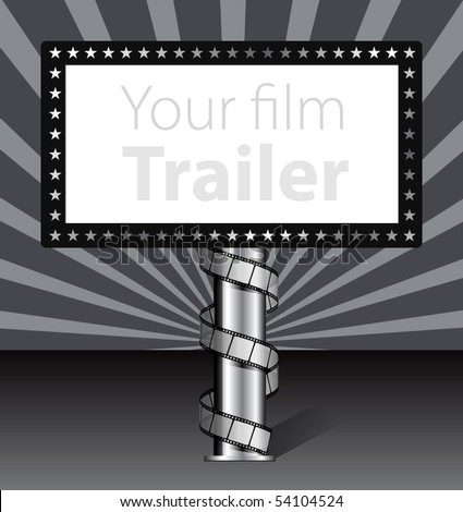 Billboard with film strip illustration - stock vector