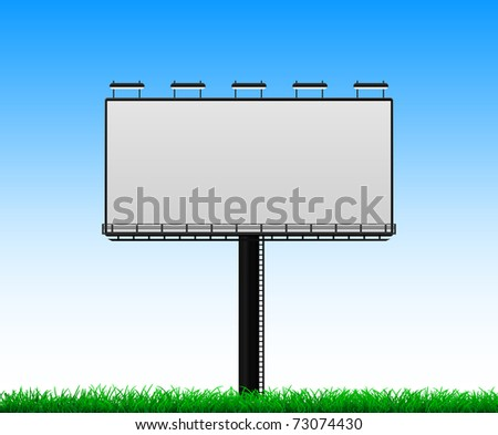 billboard with grass - stock vector