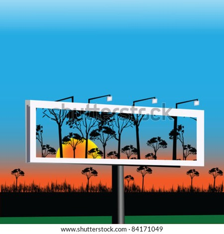 Billboard with sunrise landscape - stock vector
