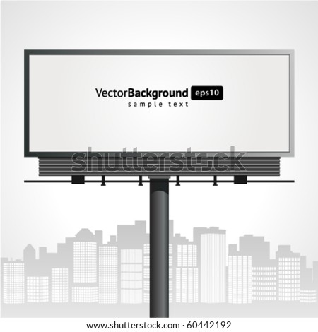 Billboard with urban horizon vector background - stock vector