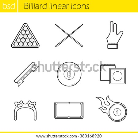 Billiard accessories linear icons set. Cuesports equipment. Ball rack, billiard glove and eight ball. Billiard brush, table and burning ball. Thin line illustrations. Vector isolated outline drawings - stock vector