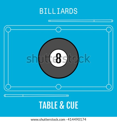 Billiard ball. Sport flat icon. Pool table and cues. Vector - stock vector