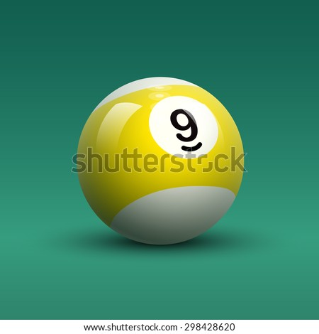 Billiard ball vector. Isolated striped color yellow and white billiard ball with number 9 on green table background. - stock vector