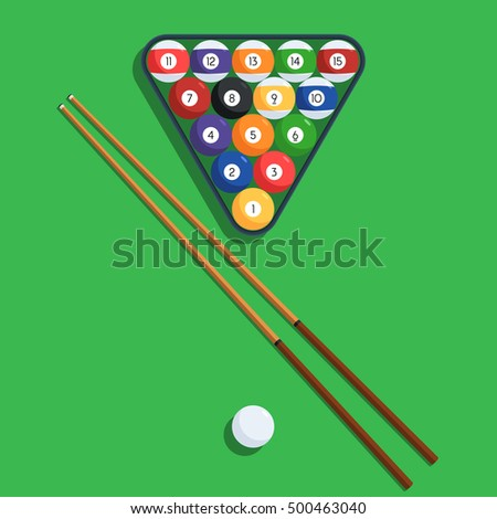 Billiard Balls In The Triangle Rack And Cue On Green Table. Vector  Illustration Of A
