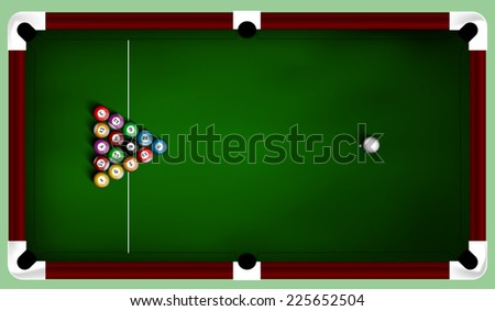Billiard balls on table - stock vector