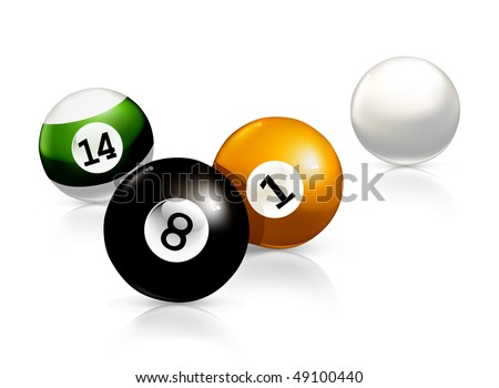 Billiard balls, vector illustration - stock vector