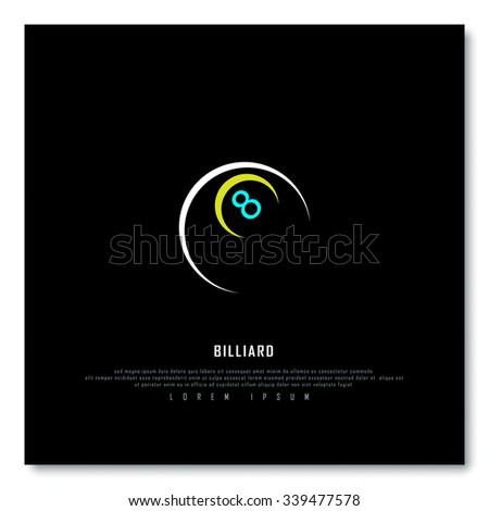 Billiard Black Freehand Sketch Graphic Design Vector Illustration EPS10 - stock vector