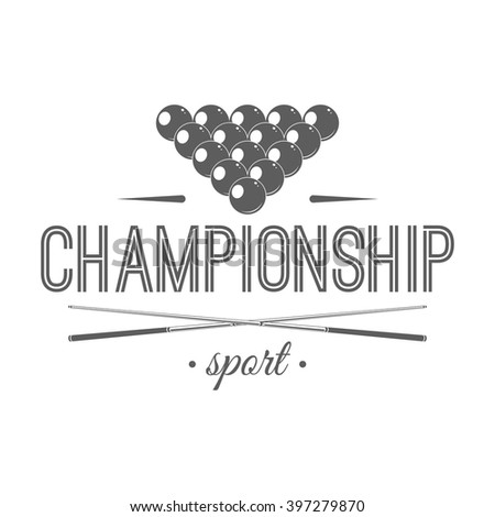 Billiard championship logotype template. Isolated vector illustration with cues and balls on white background. Billiards tournament badge, label in vintage style. For advertising or window signage. - stock vector