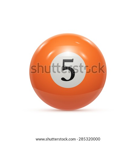 Billiard five ball isolated on a white background vector illustration - stock vector