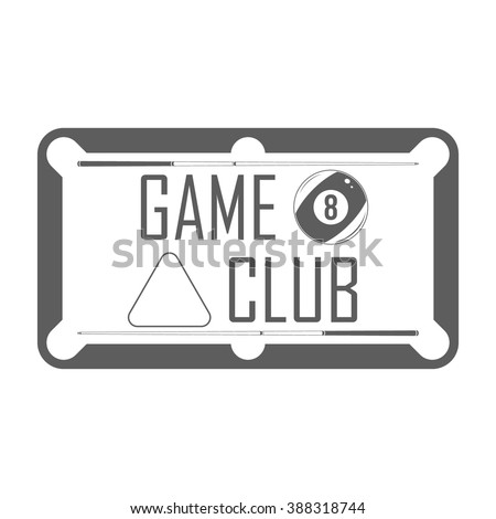 Billiard game club signboard. Isolated badge of game club on white background. Use for billiard club advertising, window signage, web sites. Billiard club emblem, icon. Modern vector illustration. - stock vector