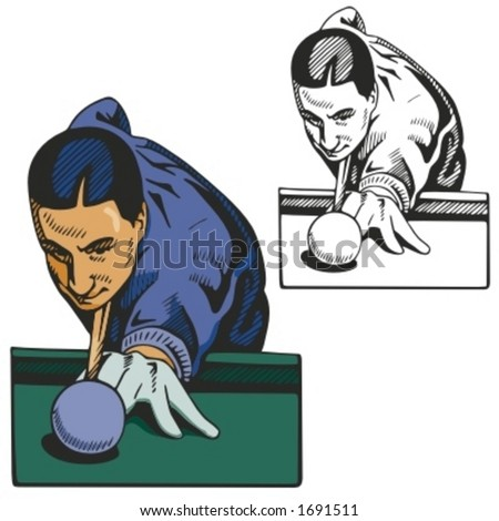 Billiard player. Vector illustration - stock vector