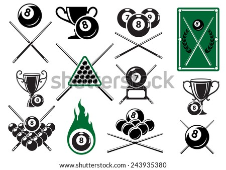 Billiard, pool and snooker sports emblems with crossed cues, billiard balls, trophy cups and table - stock vector