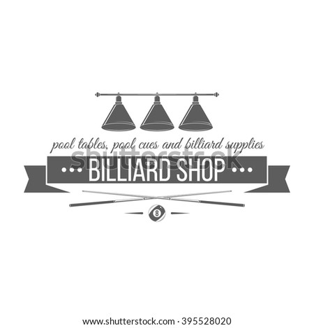 Billiard shop logotype in modern style. Isolated emblem on white background. For billiard shop advertising, window signage, promotion banners, web sites. Monochrome vector label. - stock vector