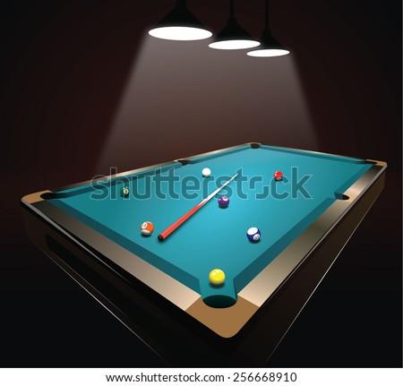 billiard table - stock vector