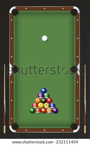 Billiard table game set vector cartoon  - stock vector