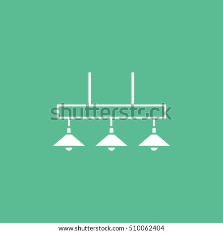 Billiard Table Lamp Flat Icon On Green Background