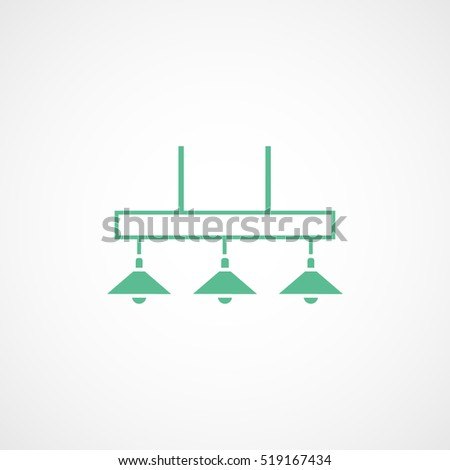Billiard Table Lamp Green Flat Icon On White Background