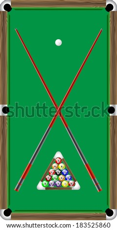 Billiard table with balls - stock vector