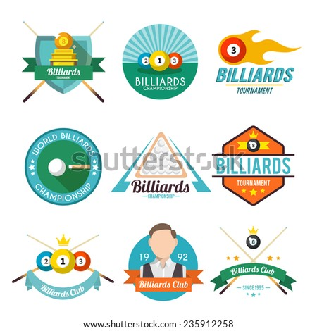 Billiard tournament world club championship label set isolated vector illustration - stock vector
