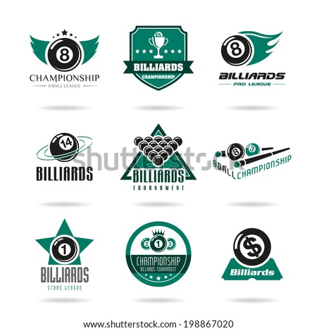 Billiards and snooker icons  - stock vector