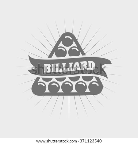 Billiards and snooker sports emblem with text for sporting logo badge or label design - stock vector