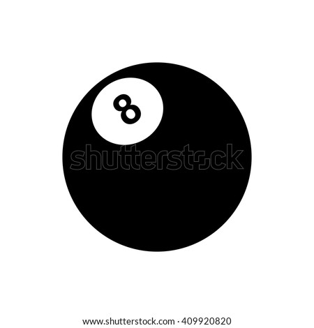Billiards 8-ball pool flat icon for sports apps and websites. Silhouette vector illustration. - stock vector