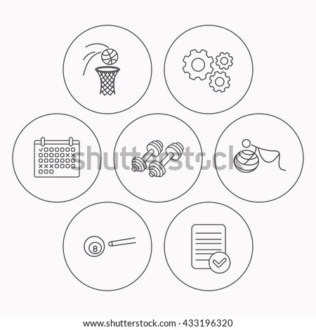 Billiards, basketball and fitness sport icons. Gymnastics for pregnant linear sign. Check file, calendar and cogwheel icons. Vector - stock vector