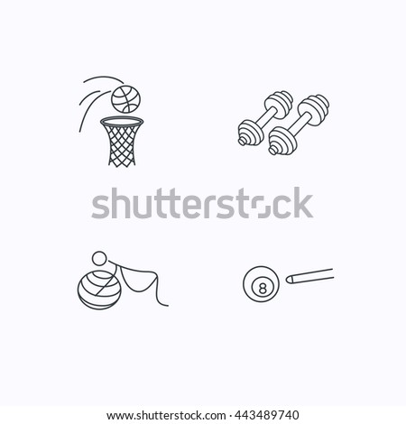 Billiards, basketball and fitness sport icons. Gymnastics for pregnant linear sign. Flat linear icons on white background. Vector - stock vector