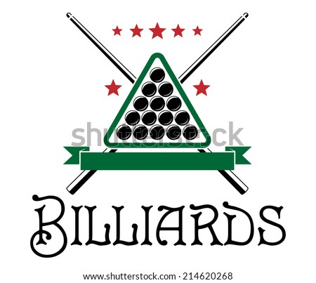 Billiards club emblem with ball, cue, triangle and text  Billiards isolated on white background - stock vector