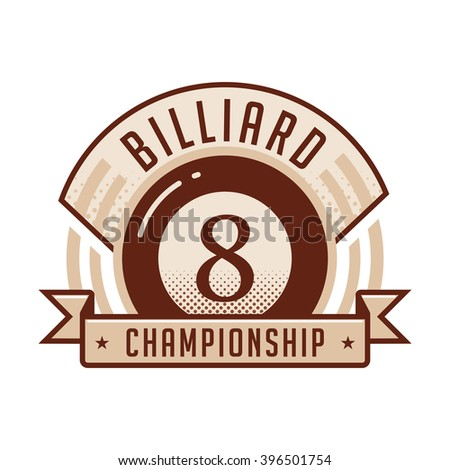 Billiards emblems labels and designed elements. Duo-tone version.